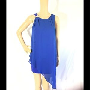 Bebe Royal Blue Asymmetrical Sash Dress Gorgeous